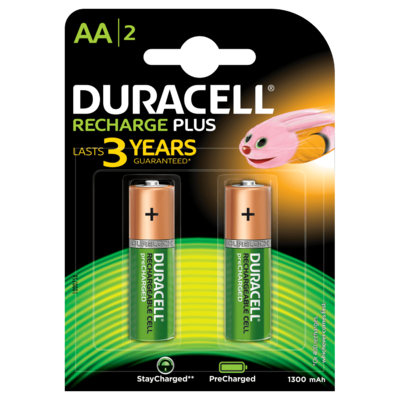 Duracell AA, 2 Batteries, 1300mAh, Recharge Plus