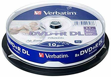 Verbatim DVD+R DL 8X Speed IJP Ink Jet Printable, 10-disk