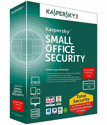 20 PC, 2 Server, 20 Mobile, 1 Year, Kaspersky Small Office Security