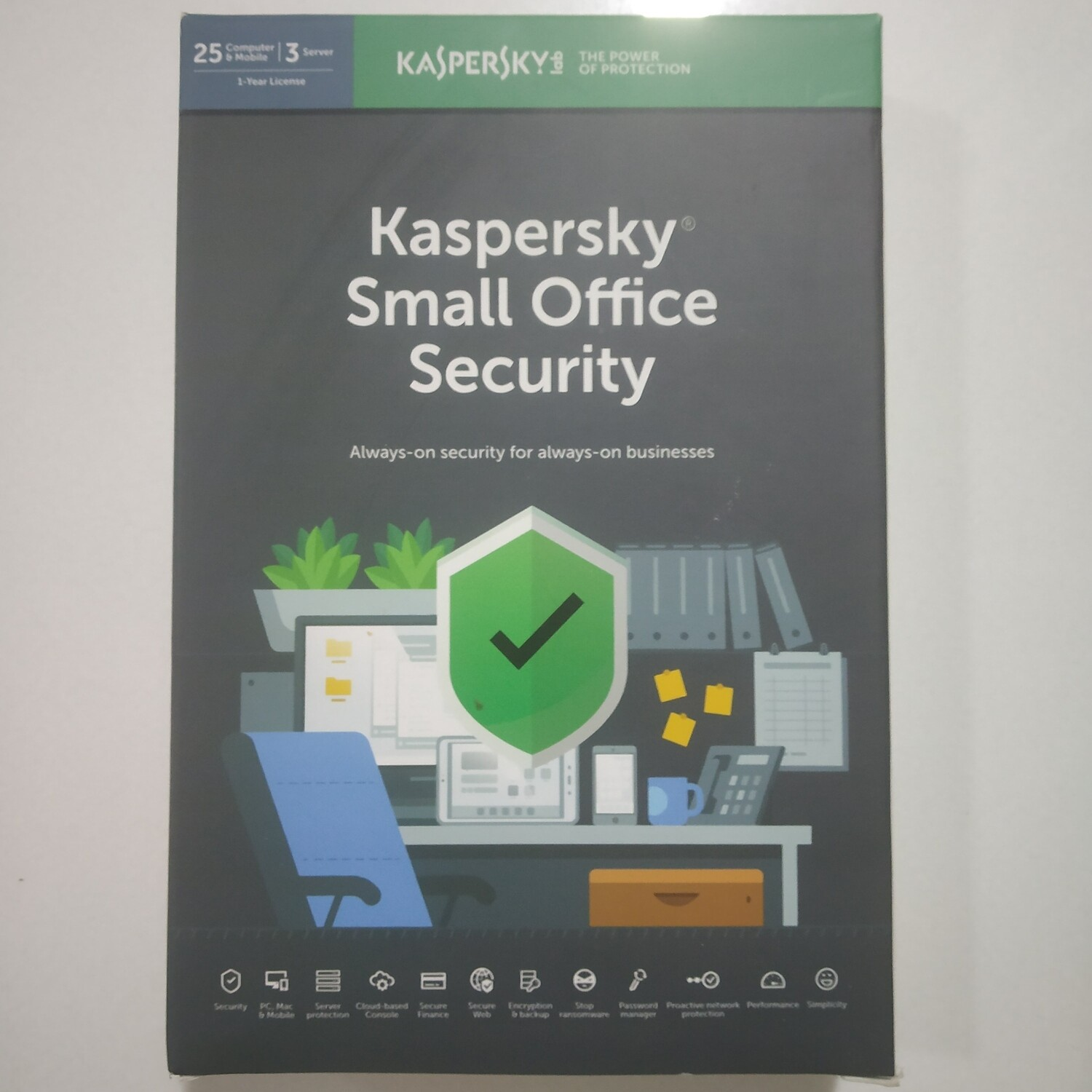 25 PC, 3 Server, 25 Mobile, 1 Year, Kaspersky Small Office Security
