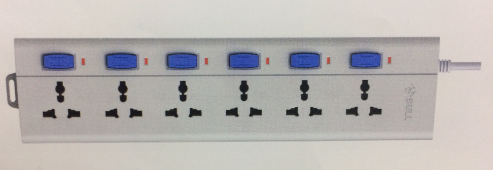 Bull 6 Sockets, 6 Switch 2mtr Extension Board