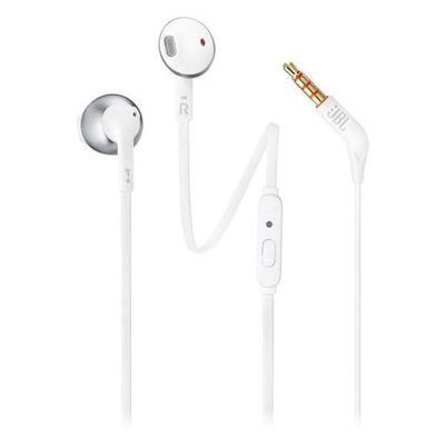 JBL T205 Pure Bass Metal Earbud Headphones White Champagne Gold