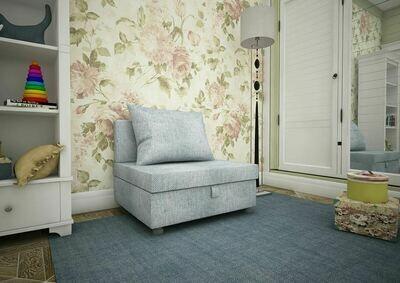 Кресло-кровать рогожка серая