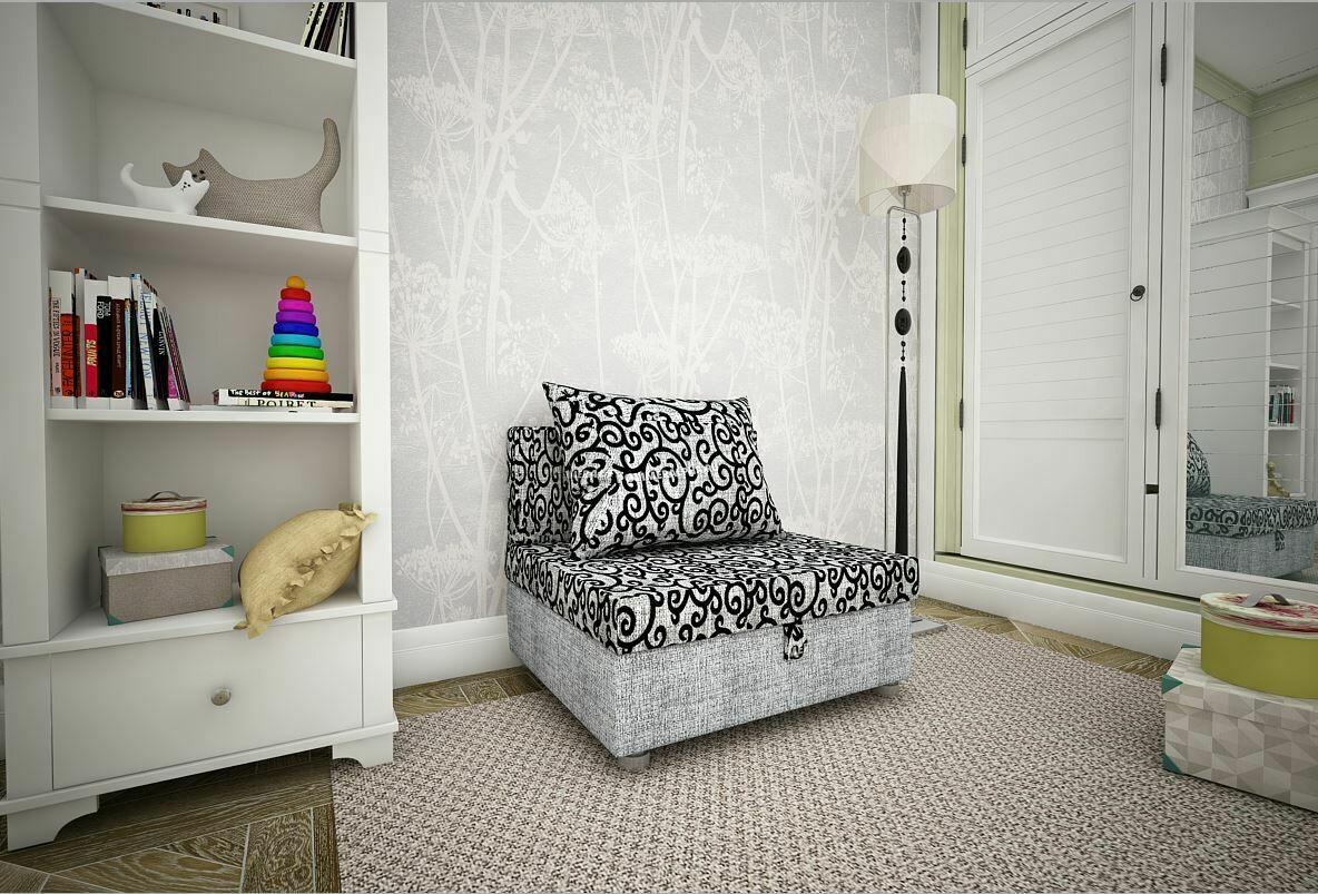 Кресло-кровать вензеля+рогожка серая