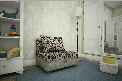 Кресло-кровать вензеля беж +рогожка бежев