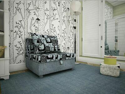 Кресло-кровать квадраты+рогожка серая