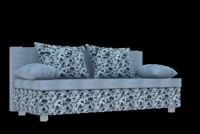 Диван Еврокнижка ткань рогожка цветочный орнамент  и однотонная