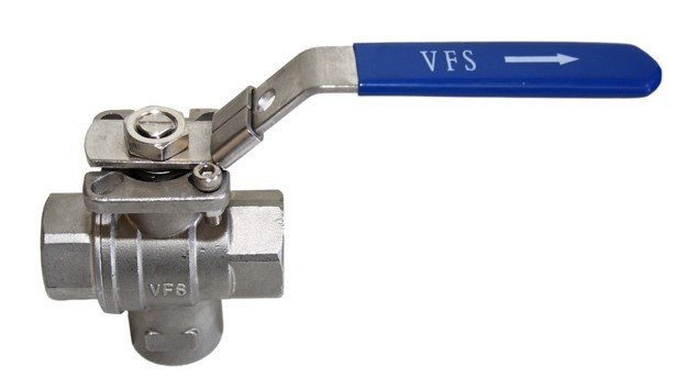3-WAY BALL VALVE 'T' PORT Bottom Entry Chrome Plated Brass