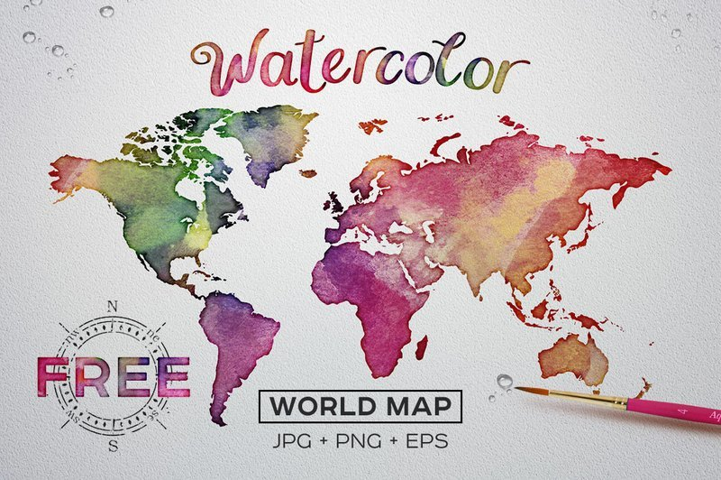 FREE Vector+Raster Watercolor World Map