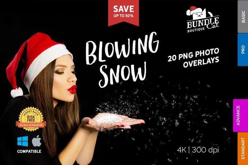 20 Blowing Snow Photo Overlays