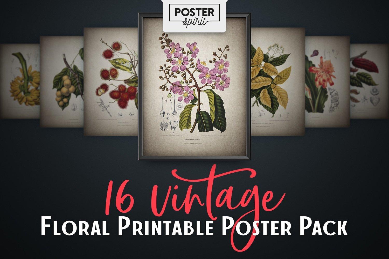 16 Vintage Floral Printable Botanical Poster Pack