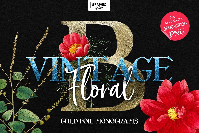 ❤️VINTAGE Floral Gold Foil Monograms