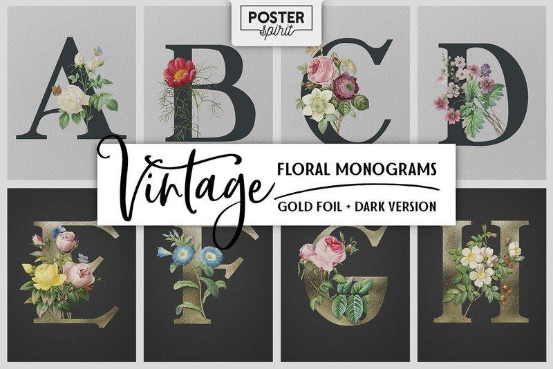 VINTAGE Floral Gold Foil Monograms Poster Bundle