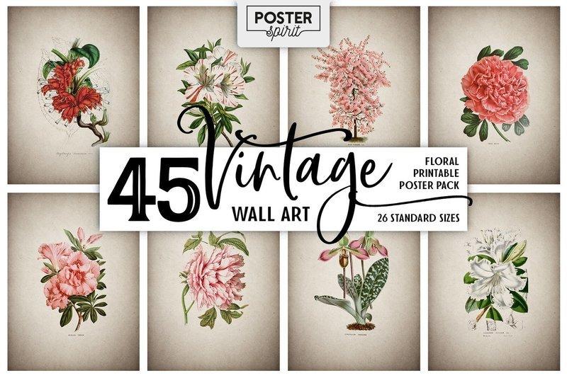 45 Vintage Floral Printable Botanical Poster Pack