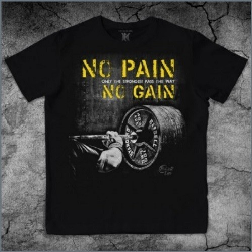 NO PAIN NO GAIN powerlifting gym tee