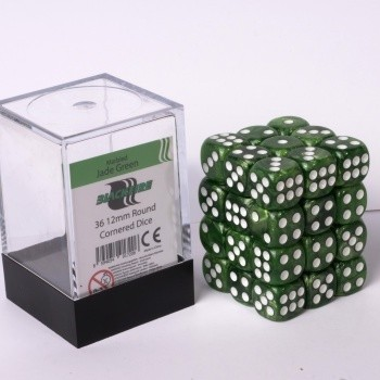 Blackfire Dice Cube - 12mm D6 36 Dice Set - Marbled Jade Green