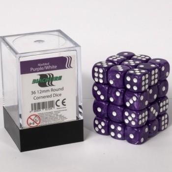 Blackfire Dice Cube - 12mm D6 36 Dice Set - Marbled Purple/White