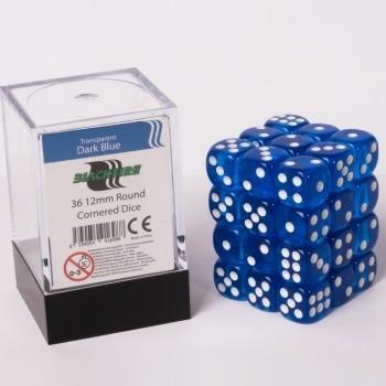 Blackfire Dice Cube - 12mm D6 36 Dice Set - Transparent Dark Blue