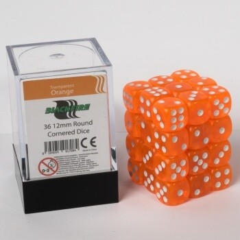 Blackfire Dice Cube - 12mm D6 36 Dice Set - Transparent Orange