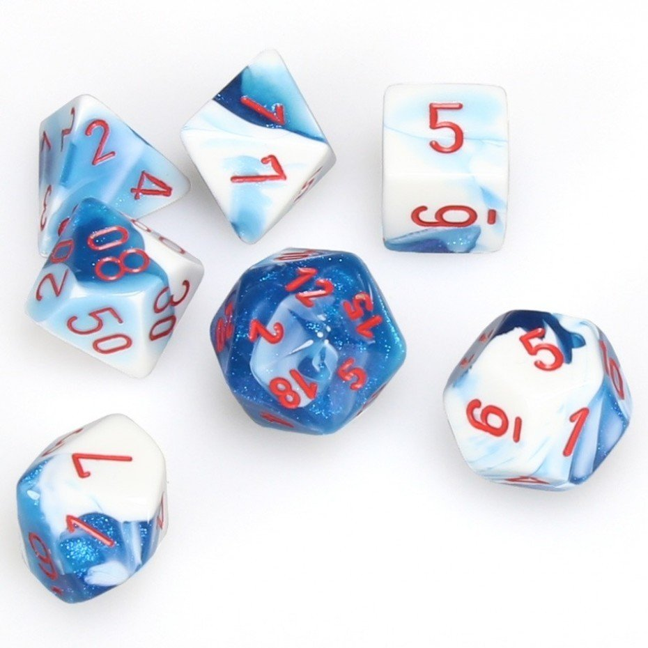 Chessix Gemini Polyhedral blue-white w/red 7-Die