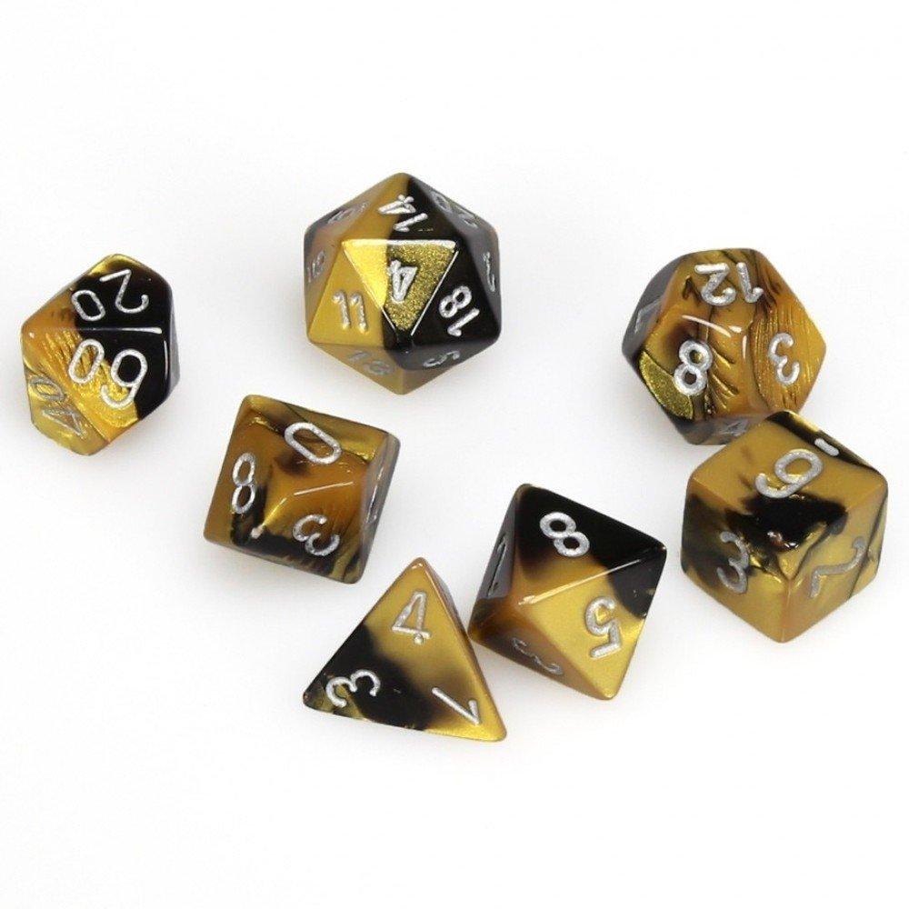 Chessix Gemini Polyhedral Black-Gold w/silver 7-Die