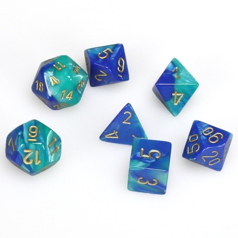 Chessex Gemini Polyhedral blue-teal w/Gold 7-die