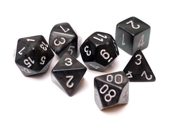 Chessex Borealis Polyhedral smoke w/silver- 7 die