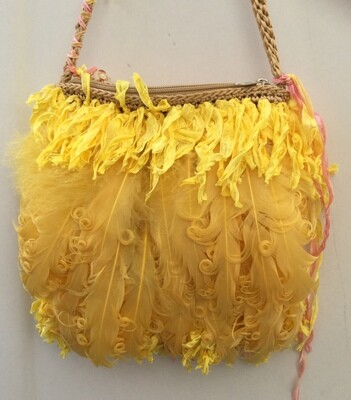 """Yellow Canary"" Feather Handbag"