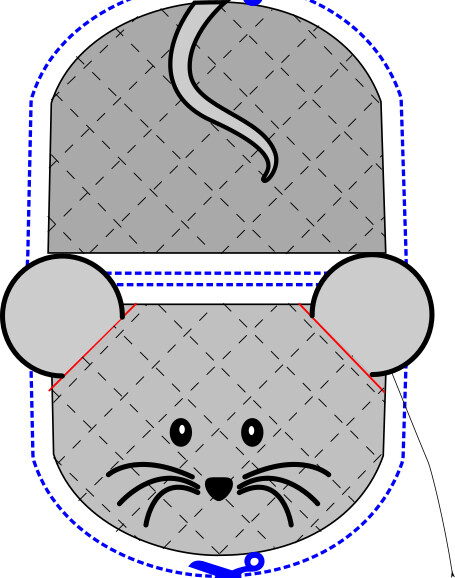 Mouse animal oven mitt sewing machine pattern and tutorial