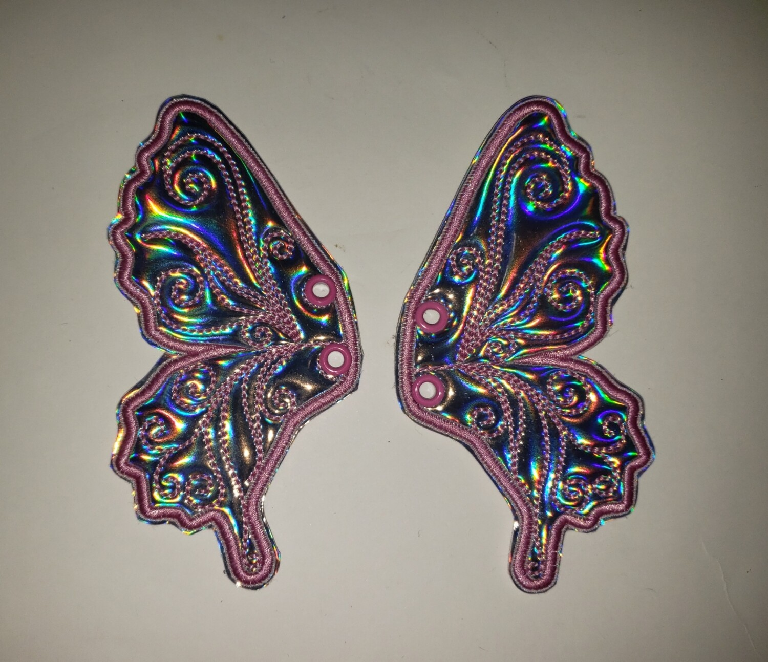 Butterfly 5 inch shoe wings in  holographic fabrics