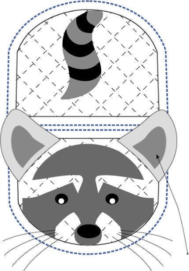 Raccoon animal oven mitt sewing machine pattern and tutorial