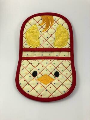 Chicken oven mitt machine embroidery in the hoop design