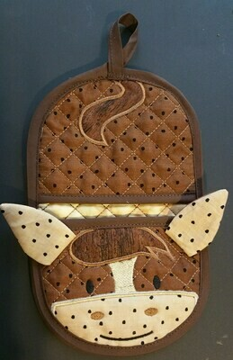 Horse oven mitt machine embroidery in the hoop design