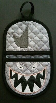 Shark oven mitt machine embroidery in the hoop design