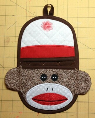 Sock Monkey oven mitt machine embroidery in the hoop design