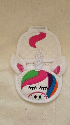 Unicorn oven mitt machine embroidery in the hoop design