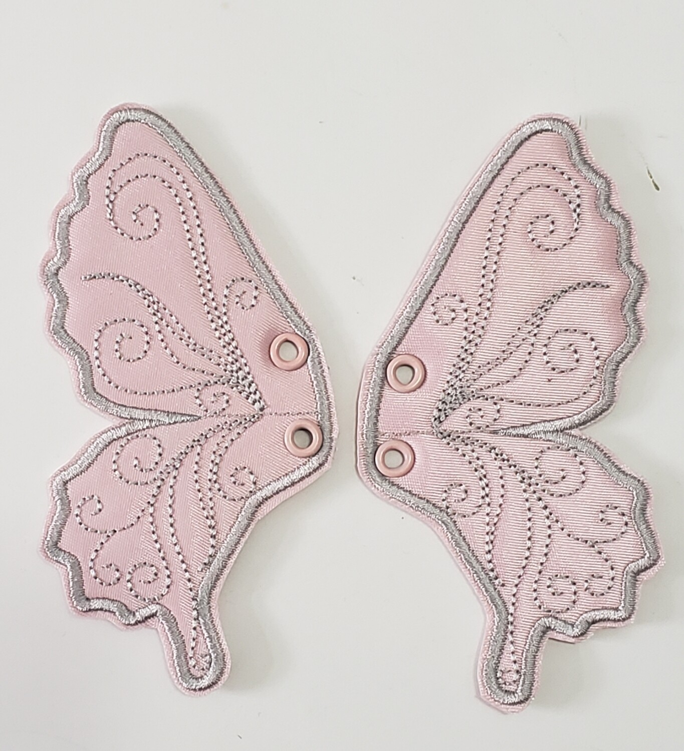 Butterfly 5 inch shoe wings in satin plain fabric