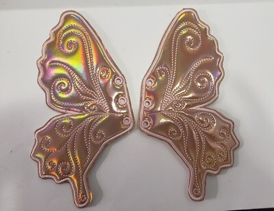 Butterfly  7 inch (large) shoe wings in  holographic fabrics
