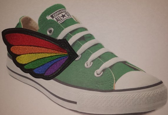 Rainbow pride adult customized shoe wings