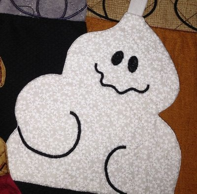 embroidery in the hoop Towel topper Ghost