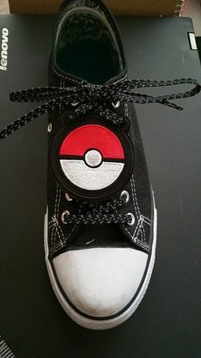 Pokeman Ball inspired shoe topper (finished product)