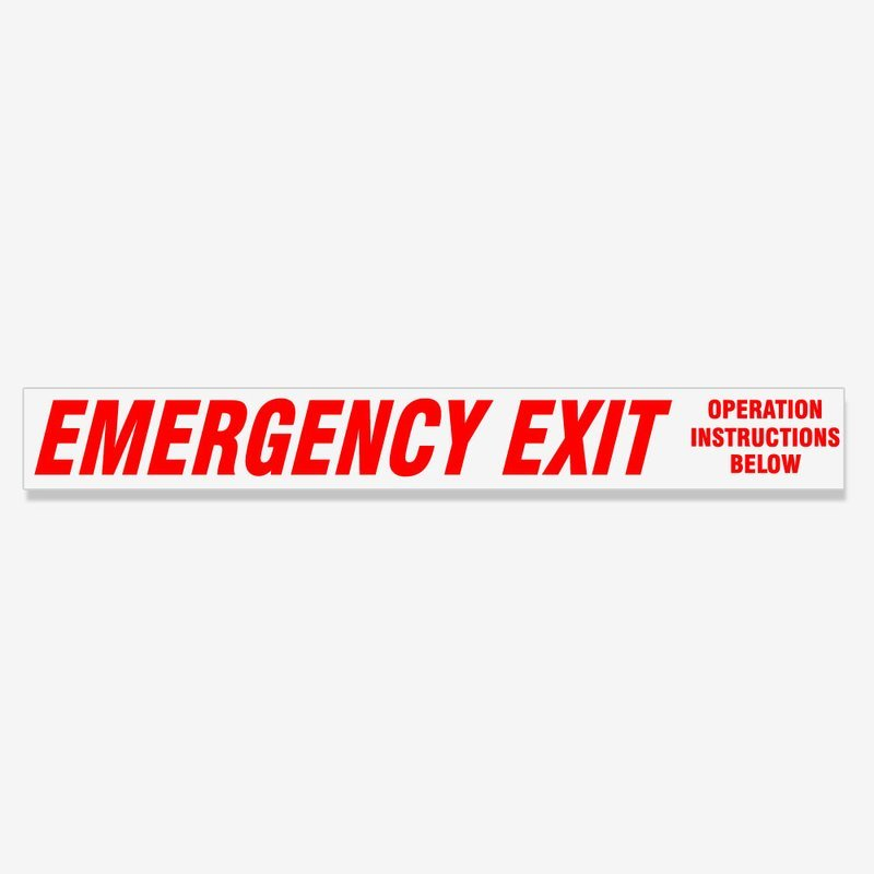 Emergency Exit Instructions Below - Red