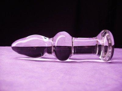 2 WAVE GLASS BUTT PLUG DILDO
