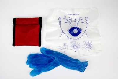 CPR Face Shield, Disposable c/w gloves in Key ring pouch
