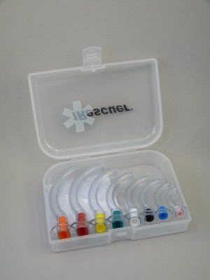 Set of 8 Coloured Guedel Airways in a case