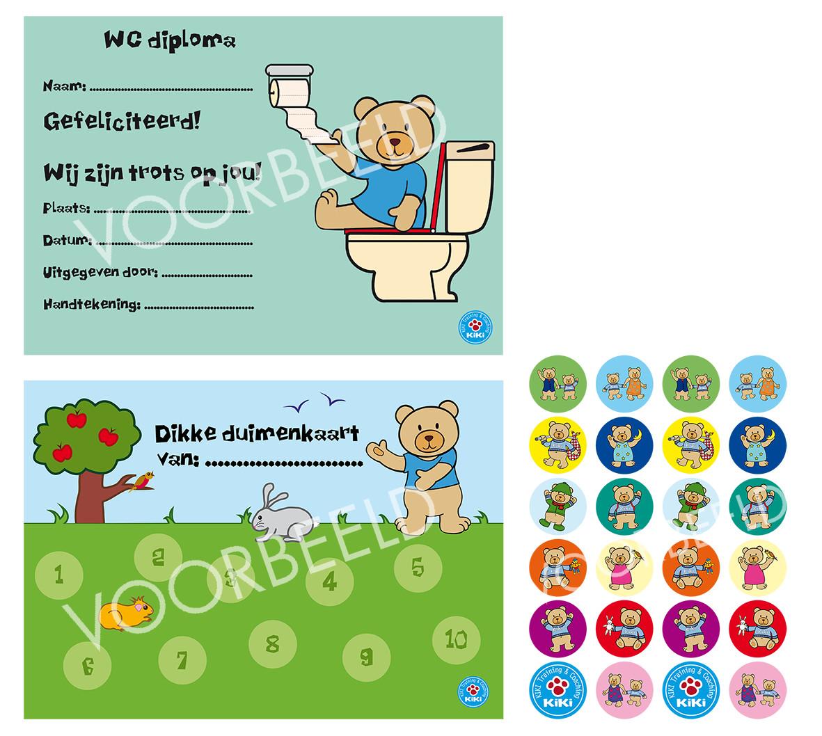 Dikke Duimenkaarten 6 x en 3 vellen Kiki stickers & 6 WC Diploma's