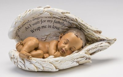 Baby In Angel Wings Urn (Choice of 2 medium skin tones)     U-BIW-Brn
