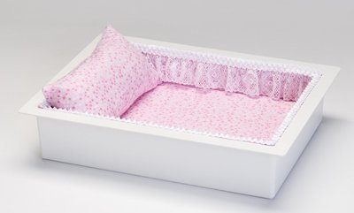 Twin or Single Baby Economy Casket Vault combo (in pink flannel, 14 inch)     C-14-ECO-PK