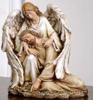 Angel Comforting Jesus Statue M-ACJS