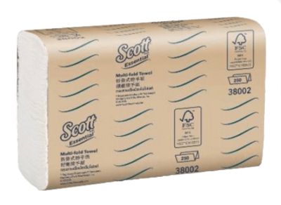 SCOTT 38002 MULTIFOLD HAND TOWEL SLIMLINE 24CM X 19.5CM 250 SHEETS CTN 16